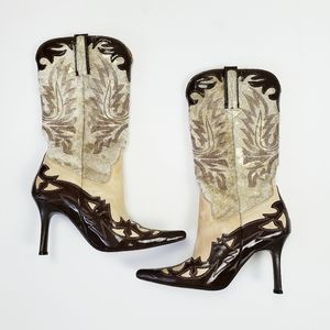 Lucchese | 2 Tone Calf Hair Heeled Boots Size 6